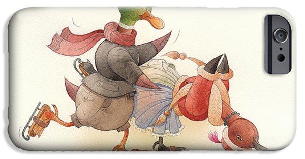 Christmas iPhone Cases - Dancing Ducks 03 iPhone Case by Kestutis Kasparavicius