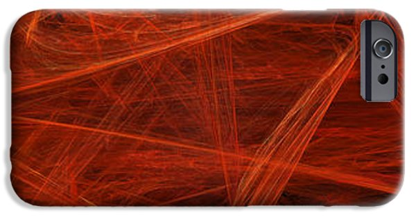 Concept Art iPhone Cases - Dancing Flames 1 H - Panorama - Abstract - Fractal Art iPhone Case by Andee Design