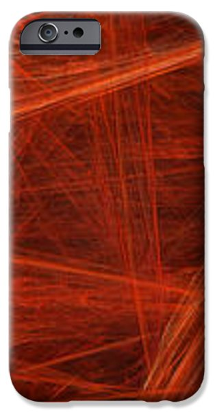 Dancing Flames 1 H - Panorama - Abstract - Fractal Art iPhone Case by Andee Design