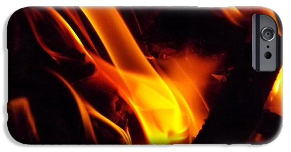 Red Abstract iPhone Cases - Dancing Flames iPhone Case by Keegan Hall