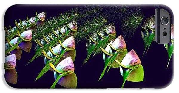 Floral Digital Art Digital Art iPhone Cases - Dancing Flower Buds iPhone Case by Gail Matthews