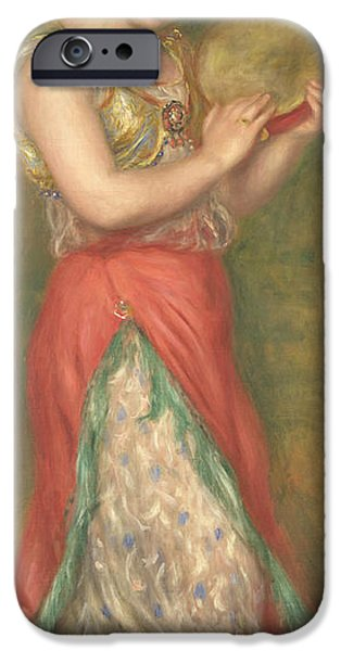 Dancing Girl Paintings iPhone Cases - Dancing Girl with Tambourine iPhone Case by Pierre-Auguste Renoir