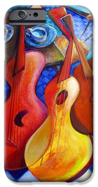 Tea Party iPhone Cases - Dancing Guitars iPhone Case by Frederick  Luff