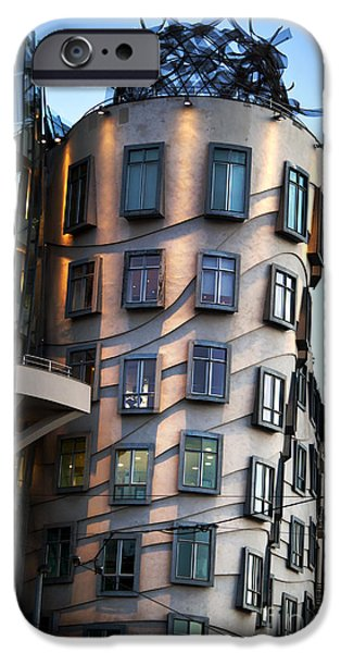 Modern Pyrography iPhone Cases - Dancing House in Prague iPhone Case by Jelena Jovanovic