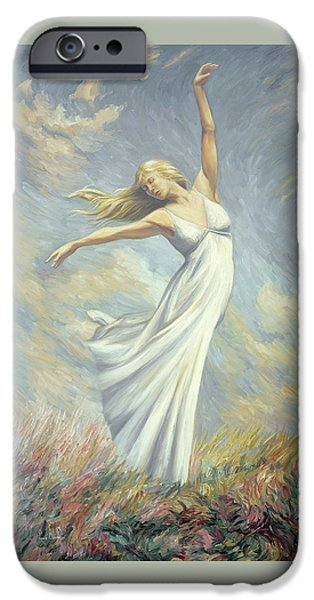 Field. Cloud iPhone Cases - Dancing in Monets Field iPhone Case by Lucie Bilodeau