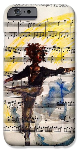 Ballet Dancers iPhone Cases - Dancing in the dark. iPhone Case by Sarah Brown