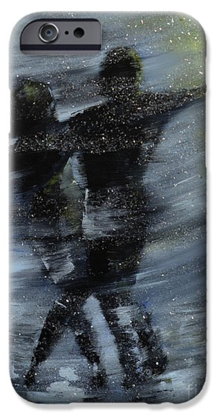Rainy Day iPhone Cases - Dancing in the night iPhone Case by Roni Ruth Palmer