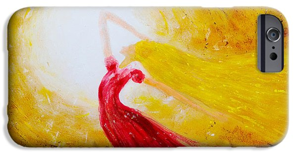 Dancing Girl Paintings iPhone Cases - Dancing in the sun iPhone Case by Jiri Capek