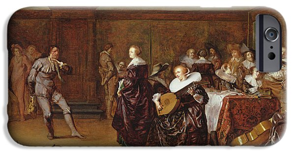 Lute iPhone Cases - Dancing Party, 17th Century iPhone Case by Pieter Codde
