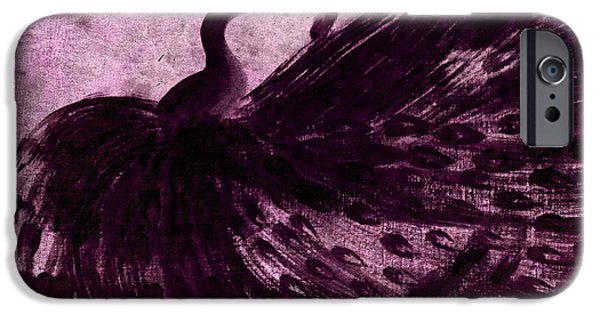 American ist Mixed Media iPhone Cases - DANCING PEACOCK plum iPhone Case by Anita Lewis