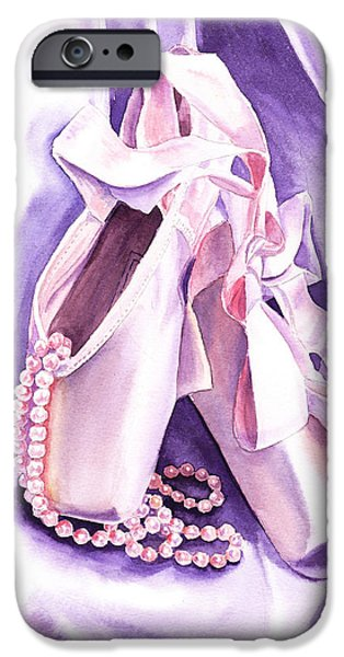 Laces iPhone Cases - Dancing Pearls Ballet Slippers  iPhone Case by Irina Sztukowski
