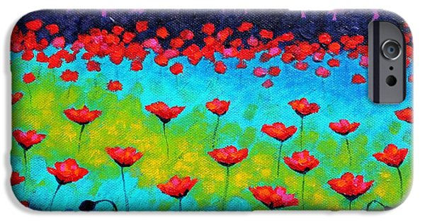 Landscape Posters iPhone Cases - Dancing Poppies iPhone Case by John  Nolan