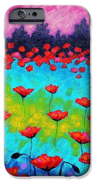 Dancing Poppies iPhone Case by John  Nolan