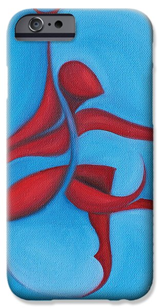 Dancing Sprite in Red and Turquoise iPhone Case by Tiffany Davis-Rustam