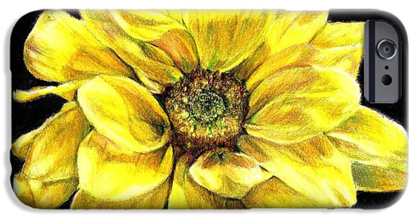 Flora Drawings iPhone Cases - Dancing Yellow Daisy iPhone Case by Shana Rowe