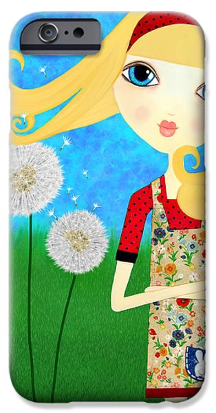 Little Girl Mixed Media iPhone Cases - Dandelion Wishes iPhone Case by Laura Bell