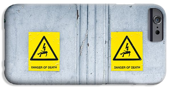 Sticker iPhone Cases - Danger of death iPhone Case by Tom Gowanlock