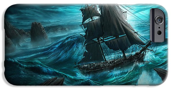 Recently Sold -  - Pirate Ships iPhone Cases - Dangerous Seas iPhone Case by Anthony Christou