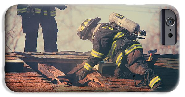Candid Photographs iPhone Cases - Dangerous Work iPhone Case by Laurie Search