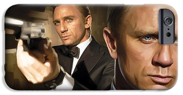 Daniel iPhone Cases - Daniel Craig - James Bond Artwork iPhone Case by Sheraz A