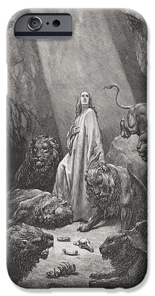 Engraving iPhone Cases - Daniel in the Den of Lions iPhone Case by Gustave Dore