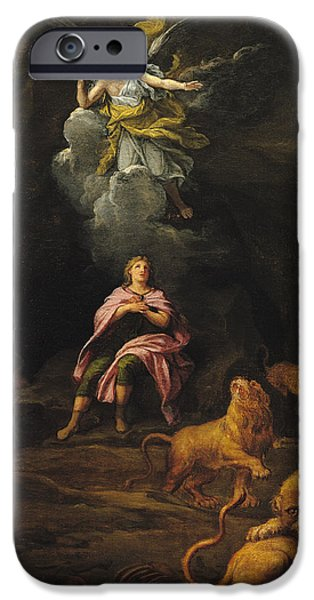 Dungeons iPhone Cases - Daniel In The Den Of Lions Oil On Canvas iPhone Case by Francois Verdier