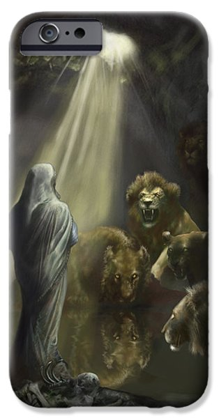 Bible Paintings iPhone Cases - Daniel in the Lions Den iPhone Case by Matt Kedzierski