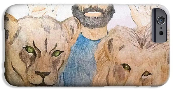 Book Of Daniel iPhone Cases - Daniel in the Lions Den iPhone Case by Pharris Art