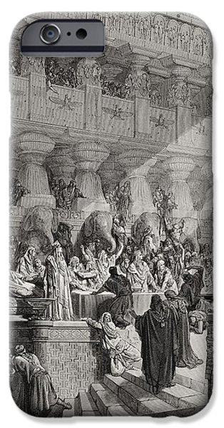 Prophet iPhone Cases - Daniel Interpreting the Writing on the Wall iPhone Case by Gustave Dore