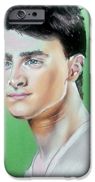 Graphite Drawing Pastels iPhone Cases - Daniel Radcliffe / Harry Potter iPhone Case by Bobby Boyer