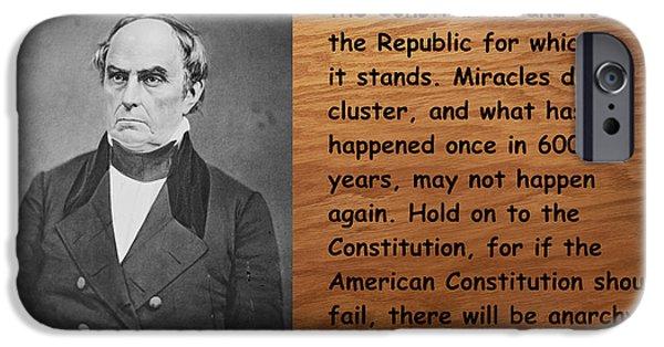 Constitution iPhone Cases - Daniel Webster On The Constitution of the United States iPhone Case by Barbara Snyder