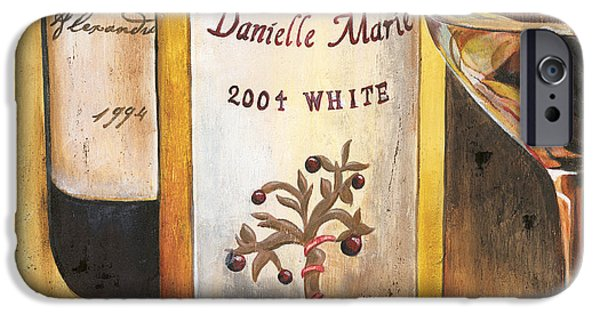 Wine Glasses Paintings iPhone Cases - Danielle Marie 2004 iPhone Case by Debbie DeWitt
