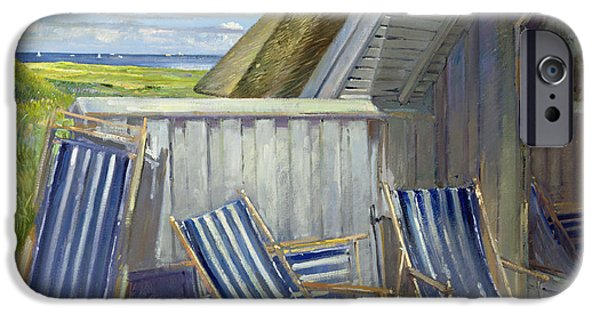 Clapboard House iPhone Cases - Danish Blue, 1999-2000 Oil On Canvas iPhone Case by Timothy Easton