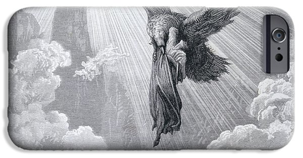 Hovering iPhone Cases - Dante and the Eagle iPhone Case by Gustave Dore