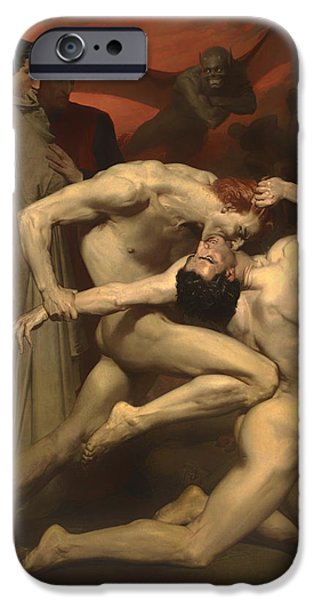 Lucifer iPhone Cases - Dante and Virgil iPhone Case by William-Adolphe Bouguereau