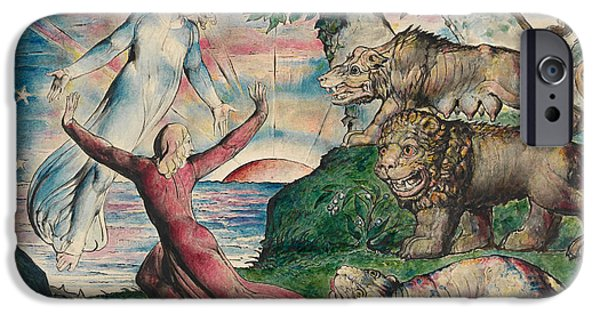 William Blake iPhone Cases - Dante running from the three beasts iPhone Case by William Blake