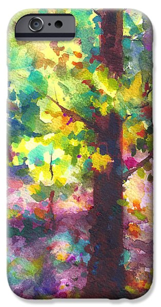 Garden Scene Paintings iPhone Cases - Dappled - light through tree canopy iPhone Case by Talya Johnson