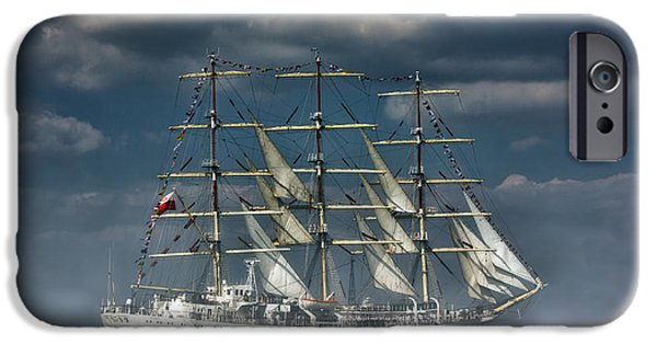Tall Ship iPhone Cases - Dar Mlodziezy  iPhone Case by Thanet Photos