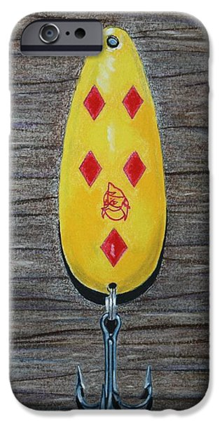 Fishing Pastels iPhone Cases - Daredevil Fishing Lure iPhone Case by Linda Eversole