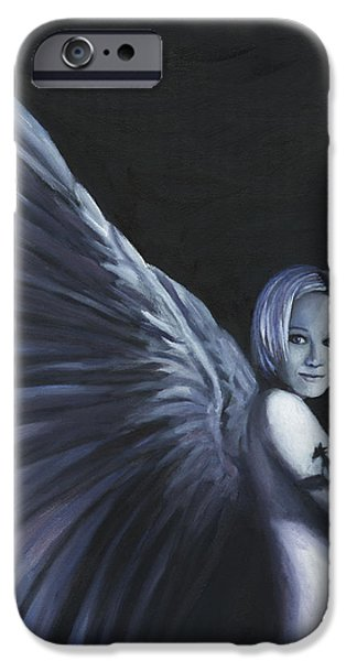 Angel Blues iPhone Cases - Dark Angel iPhone Case by Joe Maracic