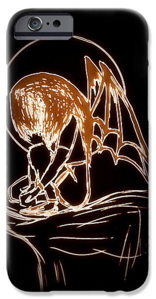 Night Angel Drawings iPhone Cases - Dark Angel iPhone Case by Vedant Tailang