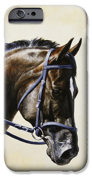 Horseback Riding iPhone Cases - Dark Bay Dressage Horse Phone Case iPhone Case by Crista Forest