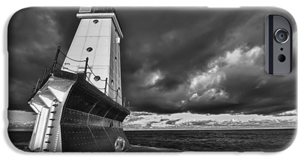Portrait iPhone Cases - Dark Clouds Black and White iPhone Case by Sebastian Musial