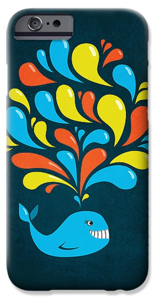 Wales iPhone Cases - Dark Colorful Splash Happy Cartoon Whale iPhone Case by Boriana Giormova