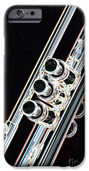 Business Drawings iPhone Cases - Dark Drawing of a Trumpet or Cornet Valves isolated 3017.04 iPhone Case by M K  Miller
