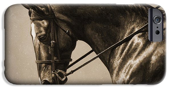 Horseback Riding iPhone Cases - Dark Dressage Horse Old Photo FX iPhone Case by Crista Forest