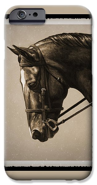 Old Photos iPhone Cases - Dark Dressage Horse Old Photo FX iPhone Case by Crista Forest