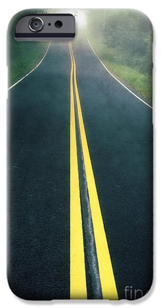 Black Top iPhone Cases - Dark Foggy Country Road iPhone Case by Edward Fielding