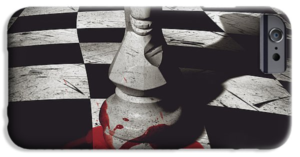Chess Players iPhone Cases - Dark knight of the grand chessboard iPhone Case by Ryan Jorgensen