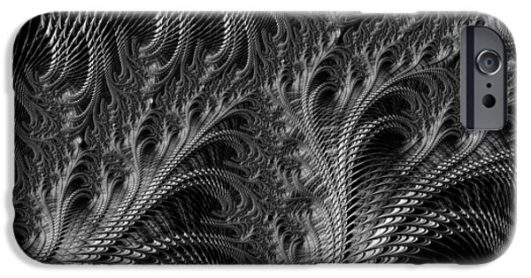 Engulfing iPhone Cases - Dark loops - black and white fractal abstract iPhone Case by Matthias Hauser
